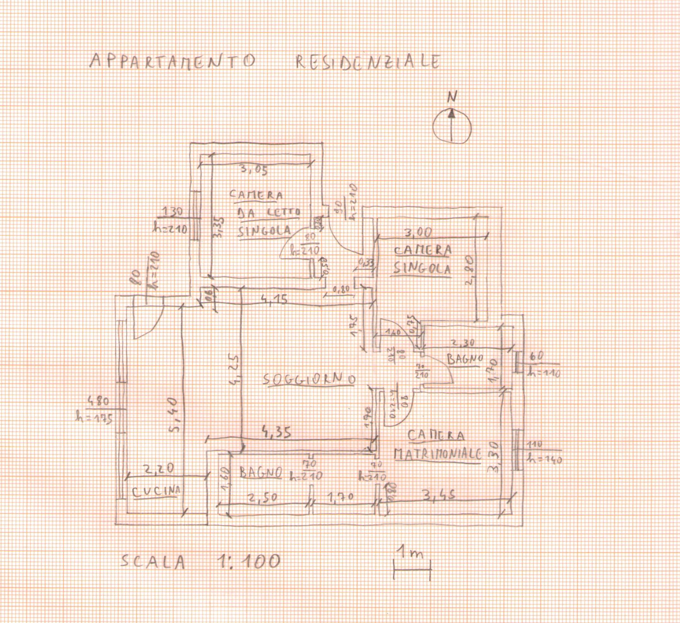 Rilievo architettonico for Planimetria stanza