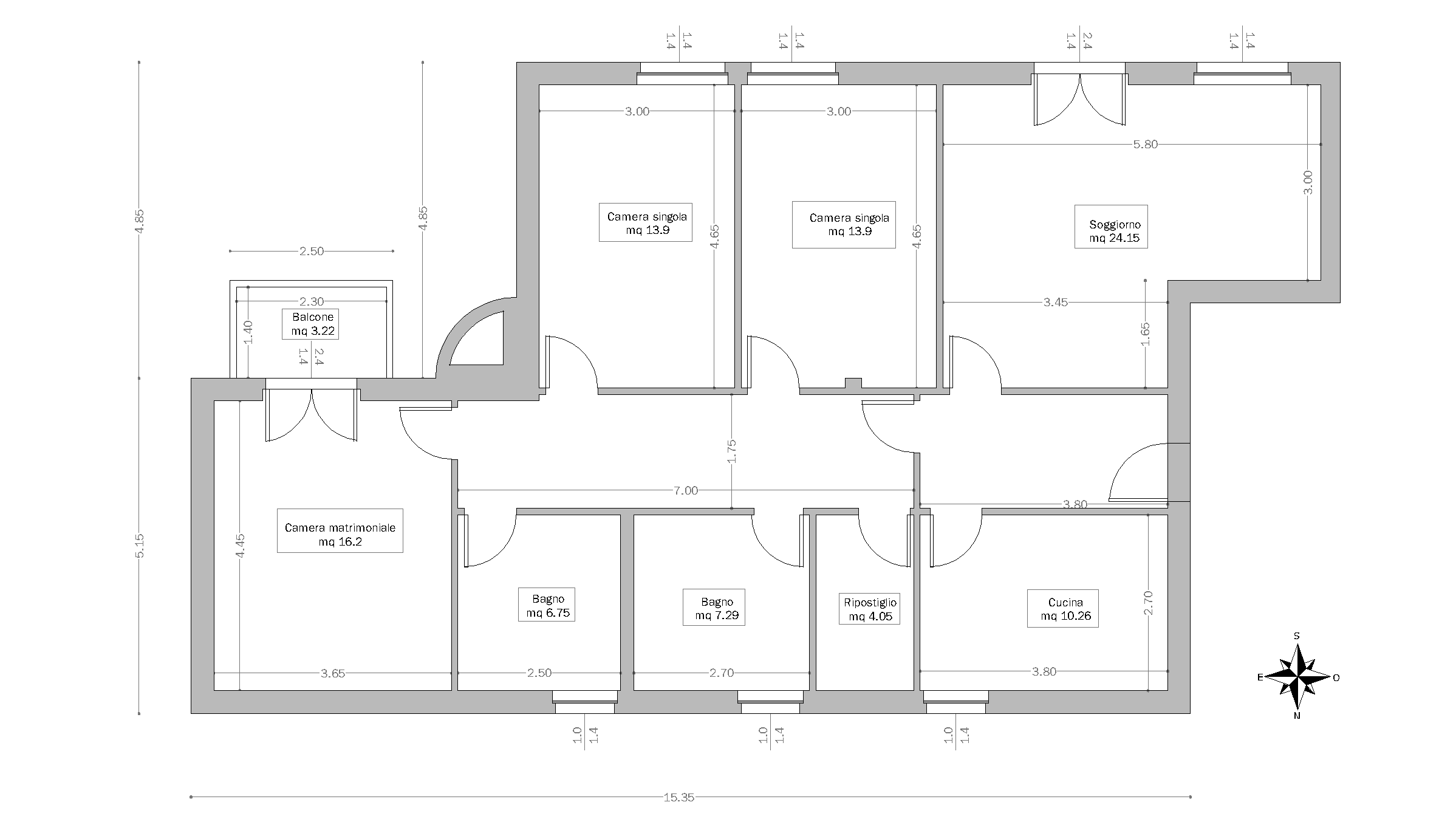 Architectural floor plan with measurements for Idee planimetria casa